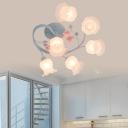 Pink/Blue 6 Lights Semi Flush Light Pastoral Frosted Glass Floral Ceiling Mount Chandelier for Living Room