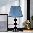 Round Bedroom Table Light Retro Beveled Crystal Prism Single Light Blue Nightstand Lamp