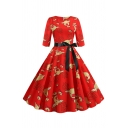 Vintage Dressy Three-Quarter Sleeve Round Neck Bow Tie Waist All Over Reindeer Print Long Pleated Swing Dress for Women