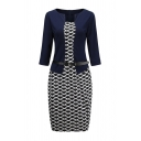 Ladies' Formal Long Sleeve Boat Neck Buckle Belt All Over Geo Print Patched False Two-Piece Midi Tight Work Dress