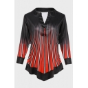 Female Unique Long Sleeve V-Neck Button Front Stripe Print Asymmetric Hem Loose Fit Blouse