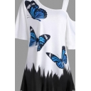 Popular Girls' Short Sleeve One Shoulder Butterfly Printed Contrasted Asymmetric Relaxed Fit Tee