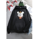 Women's Fashion Casual Long Sleeve Drawstring Mouse Pattern Kangaroo Pocket Loose Hoodie