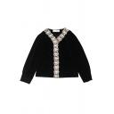 Retro Black Long Sleeve V-Neck Button Down Lace Trim Velvet Loose Fit Blouse Top for Female