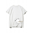 Preppy Girls' Cute Short Sleeve Crew Neck Crayon Shin-Chan and Shiro Printed Loose Tee