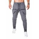 Unique Zipper Pocket Drawstring Waist Solid Color Woven Sports Pants for Men