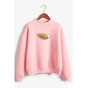 Cute Cartoon Lazy Egg and Sausage Pattern Long Sleeves Mock Neck Sweatshirt