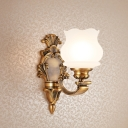 1/2-Head Frosted Glass Wall Lamp Vintage Style Brass Finish Carved Kitchen Wall Lighting with Petal Shade