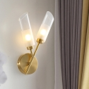 Oblique Tube Wall Light Post Modern Clear Glass 2-Light Brass Finish Wall Light Sconce