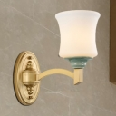 Vintage Style Bell Wall Sconce 1/2-Light White Glass and Ceramic Wall Lamp in Gold for Living Room
