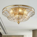 3/6 Lights Living Room Ceiling Mounted Fixture Classic Brass Flush Mount Light with Bowl Clear Ribbed Glass Shade, 15