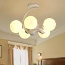 White Glass Globe Chandelier Lighting Minimalism Style 5 Heads Hanging Lamp for Living Room