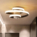 Spiral Ceiling Mounted Light Contemporary Acrylic White/Black-White LED Flush Mount Lighting in Warm/White/3 Color Light