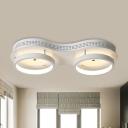 Drum Flush Mount Lighting Simple Acrylic LED White Ceiling Lighting in Warm/White Light