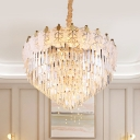 Modernist Tiered Ceiling Chandelier Clear Crystal 14 Bulbs Living Room Pendant Light Fixture