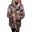 Mens Popular Colorblocked Long Sleeve Coffee Tunic Faux Fur Coat with Hood
