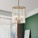 Cage Ceiling Chandelier Modern Crystal 3/5 Bulbs Brass Hanging Pendant Light for Living Room, 10