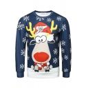 Lovely Cartoon Elk Snowflake Digital Printed Long Sleeve Blue Christmas Sweatshirt