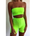 Womens Sexy Plain Strapless Bandeau Top & Shorts Two Piece Skinny Set