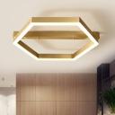 Acrylic Hexagon Ceiling Light Fixture Postmodern LED Flush Light for Bedroom in Gold