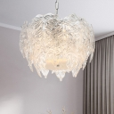 Globe Clear Textured Glass Hanging Lamp Simple 6 Heads Chandelier Light Fixture for Bedroom
