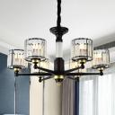 Black Cylinder Hanging Ceiling Light Simple Style 6/8 Heads Rectangular-Cut Crystal Chandelier Light