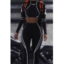 Chic Letter KL ALIEN Print Contrast Stitching Mesh Patch Crop Top Skinny Pants Black Sport Set