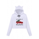 Trendy Girls' Long Sleeve Bow Tie Drawstring Letter WE WISH YOU A MERRY CHRISTMAS Truck Printed Loose Crop Cat Ear Hoodie in White