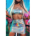 Nightclub Fashion Silver Metallic Crop Bandeau Top with Mini Bodycon Skirt Two Piece Set