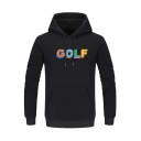 Creative Letter GOLF Printed Long Sleeve Pouch Pocket Casual Drawstring Hoodie