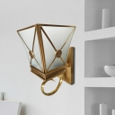 Opaque Glass Gold Wall Sconce Tapered 1 Light Vintage Wall Light Fixture with Curly Arm