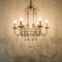 Crystal Beaded Ceiling Chandelier Traditional 6 Heads Hanging Light Kit in Brass for Bedroom