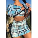 Edgy Womens Casual Plaid Print One Shoulder Long Sleeve Crop Top with Mini Bodycon Skirt