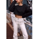 Womens Casual Plain Long Sleeve Round Neck Loose Daily Wear Cropped Sweatshirt