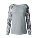 Leisure Camouflage Printed Long Sleeve Round Neck Slim Fit Pullover Sweatshirt