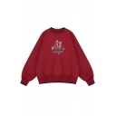 Red Embroidery Letter CPNAOBA Print Contrast Trim Long Sleeve Round Neck Loose Sweatshirt
