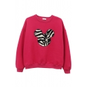 Female Cozy Casual Long Sleeve Crew Neck Mickey Mouse Patterned Baggy Pullover Sweatshirt