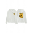 Cute Kawaii Street Long Sleeve Drawstring Winnie The Pooh Printed Kangaroo Pocket Loose Hoodie for Girls