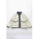 Chic Unique Girl's Long Sleeve Lapel Collar Button Down Flap Pockets Shearling Fleece Denim Patched Boxy Jacket