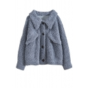 Cute Fancy Girls' Long Sleeve Lapel Collar Button Down Flap Pockets Sherpa Fleece Plain Relaxed Coat