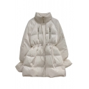 Popular Trendy Women Long Sleeve Stand Collar Zipper Detail Drawstring Oversize Midi Down Coat in White