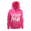 Stylish Girls' Long Sleeve Letter ON WEDNESDAY WE WEAR PINK Kangaroo Pocket Relaxed Hoodie in Rose Red