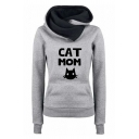 Classic Fashion Girls' Long Sleeve Cowl Neck Letter CAT MOM Kitty Print Kangaroo Pocket Contrasted Fitted Hoodie