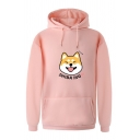 Cool Popular Long Sleeve Drawstring SHIBA INU Letter Dog Print Kangaroo Pocket Loose Fit Midi Hoodie for Girls