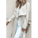 Ladies' Trendy Long Sleeve Exaggerate Collar Button Front Loose Long Plain Wool Coat