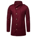 Street Fashion Plain Fold-Over Collar Long Sleeve Metal Button Wool Coat with Epaulets
