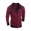 Mens Leisure Contrast Zip Placket Long Sleeve Slim Fitted Fake Two Piece Panel Track Jacket