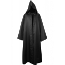 Mens Popular Cosplay Costume Solid Color Tied Front Longline Wizard Hooded Cloak