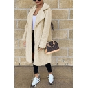 Ladies' Chic Thickened Long Sleeve Notch Collar Button Detail Sherpa Fleece Oversize Maxi Coat in Khaki