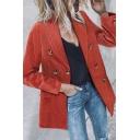 Elegant Fashion Ladies' Long Sleeve Shawl Collar Double Breasted Corduroy Plain Relaxed Blazer Jacket
